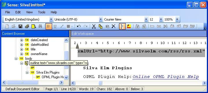 Sense OPML Plugin full screenshot